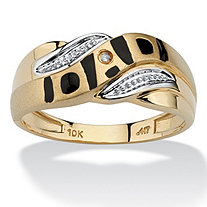 "Men's Diamond Accent 10k Yellow Gold ""Dad"" I.D. Ring"