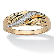 Men's Diamond Accent 10k Yellow Gold Swirled Wedding Band Ring