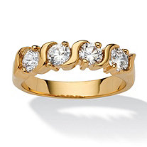 1 TCW Round Cubic Zirconia S Style Ring in 14k Gold-Plated