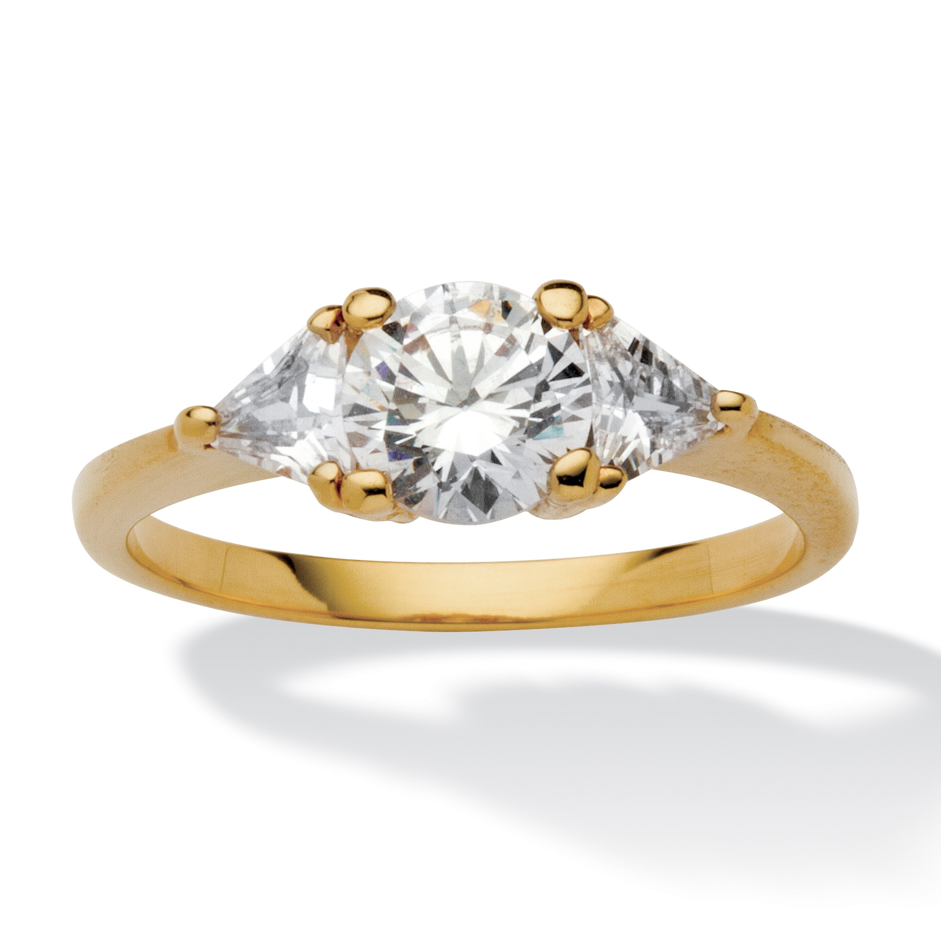 Gold Plated Wedding Rings: PalmBeach Jewelry 2.18 TCW CZ 14k Gold-Plated 3-Stone