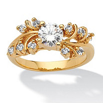 .80 TCW Round Cubic Zirconia and Crystal Ring in 14k Gold-Plated
