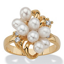 Cultured Freshwater Pearl Crystal Accent 14k Yellow Gold-Plated Cluster Cocktail Ring