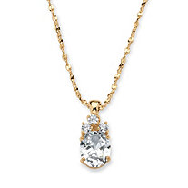 2.59 TCW Oval-Cut Cubic Zirconia Pendant Necklace in Yellow Gold Tone