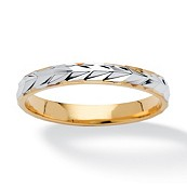 Unisex 14k Yellow Gold-Plated Two-Tone Wedding Band