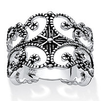 Sterling Silver Antique-Finish Filigree Band Ring