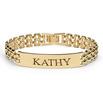 Personalized I.D. Panther-Link Name Bracelet in Yellow Gold Tone 7 1/4""