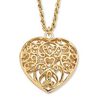 Simulated Pearl Filigree Heart Pendant Necklace in Yellow Gold Tone 30""