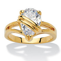 2.98 TCW Pear Cut Cubic Zirconia 14k Yellow Gold-Plated Wrapped Solitaire Ring