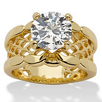 2-Carat Round Cubic Zirconia 14k Yellow Gold-Plated Solitaire Filigree Bridal Engagement Band