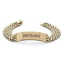 Men's Personalized I.D. Panther-Link Name Bracelet in Yellow Gold Tone 8""