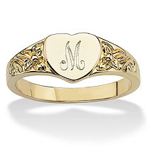 14k Yellow Gold-Plated Heart-Shaped Initial Ring
