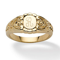 14k Yellow Gold-Plated Floral Motif Signet I.D. Ring