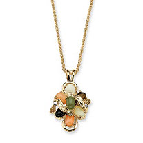 1/4 TCW Oval Shaped Multi-Gemstone Crystal Accent Goldtone Metal Drop Pendant and Chain 18""