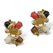 1/2 TCW Oval-Shaped Multi-Gemstone Crystal Accent Yellow Gold Tone Button Earrings