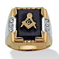Men's Onyx and Crystal Masonic Ring in 14k Gold-Plated