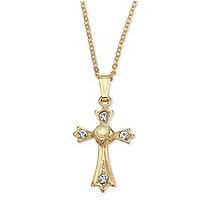 Lord's Prayer Crystal Cross Pendant Necklace in Yellow Gold Tone