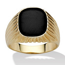 Men's Genuine Onyx 14k Yellow Gold-Plated Ribbed Ring