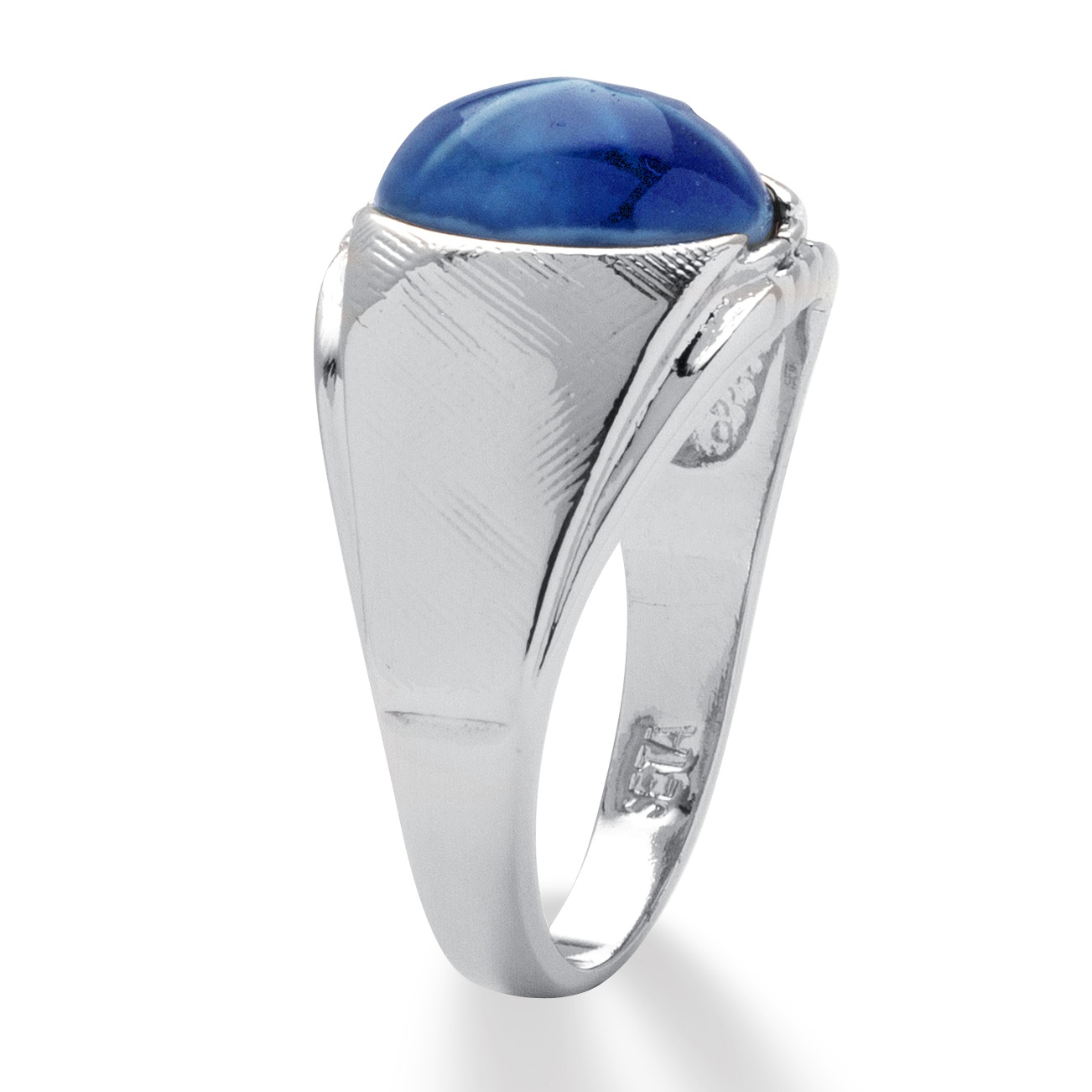 Palmbeach Jewelry Men's Oval Simulated Blue Star Sapphire ...