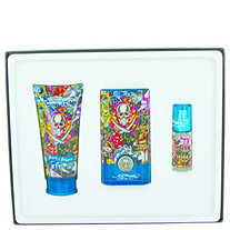 Ed Hardy Hearts and Daggers by Ed Hardy for Men Gift Set -- 1.7 oz Eau De Toilette Spray + 3 oz Shower Gel + .25 oz Mini EDT Spray