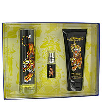 Ed Hardy by Christian Audigier for Men Gift Set -- 3.4 oz Eau De Toilette Spray + 6.7 oz Shower Gel + .25 oz Mini EDT Spray