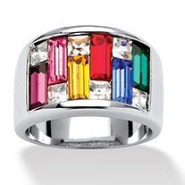 Princess-Cut and Baguette Cut Multi-Color Crystal Silvertone Channel Ring