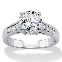 2.20 TCW Round Cubic Zirconia Silvertone Engagement Anniversary Ring