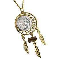 "Buffalo Nickel Yellow Gold Tone Dream Catcher Pendant with Tiger Eye Stone with 24"" Chain"