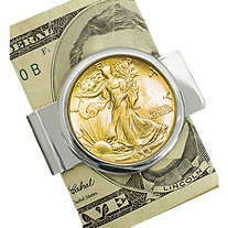 Silvertone Moneyclip with Silver Walking Liberty Half Dollar Layered In Pure Gold