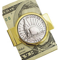 1986 Statue of Liberty Commemorative Half Dollar Coin In Yellow Gold Tone Money Clip Coin