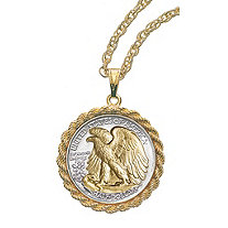 Selectively Gold-Layered Silver Walking Liberty Half Dollar Rope Coin Pendant
