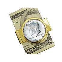JFK Half Dollar Yellow Gold Tone Moneyclip