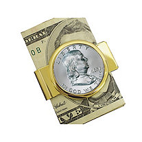 Franklin Silver Half Dollar Yellow Gold Tone Moneyclip