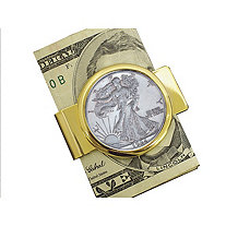Walking Liberty Silver Half Dollar Yellow Gold Tone Moneyclip