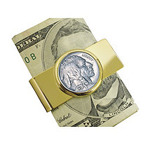 Buffalo Nickel Yellow Gold Tone Moneyclip