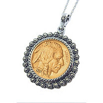 Gold-Layered Buffalo Nickel Silvertone Blossom Pendant 24