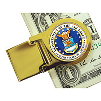Yellow Gold Tone Moneyclip with Colorized Air Force Washington Quarter
