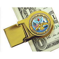 Yellow Gold Tone Moneyclip with Colorized Army Washington Quarter