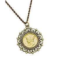 Gold Layered Mercury Dime Antique Yellow Gold Tone Beaded Pendant