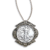 Genuine Silver Walking Liberty Half Dollar Silvertone Pendant with Chain 24""