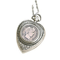 Silver Barber Dime Heart Watch Pendant