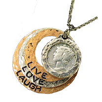 Silver Mercury Dime Tri Color Circle Pendant Live/Love/Laugh 24