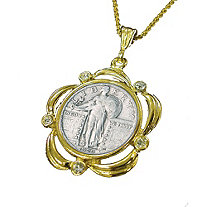"Silver Standing Liberty Quarter Yellow Gold Tone Pendant Scalloped with Crystals and 24"" Chain"