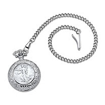 Men's Genuine Walking Liberty Silver Half Dollar Coin Pocket Watch in Silvertone