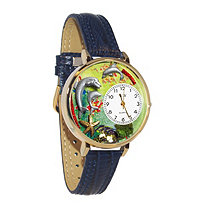 Hand-Crafted Personalized Dolphins Theme Watch With Italian Leather Band in Yellow Gold Tone