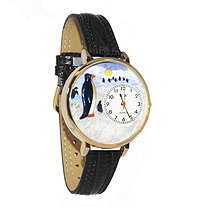Personalized Penguin Watch in gold or silver case