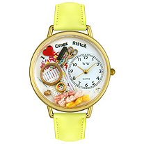 Personalized Cross Stitch Watch in gold or silver case