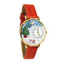 Personalized Christmas Tree Watch in gold or silver case