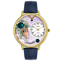 Personalized Birthstone Jewelry: December Birthstone Watch in gold or silver case