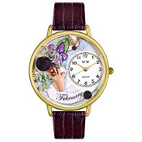 Personalized Birthstone Jewelry: February Birthstone Watch in gold or silver case