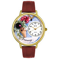 Personalized Birthstone Jewelry: January Birthstone Watch in gold or silver case